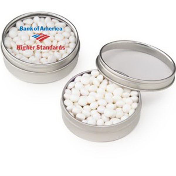 Small Clear Window Tin with White Mints