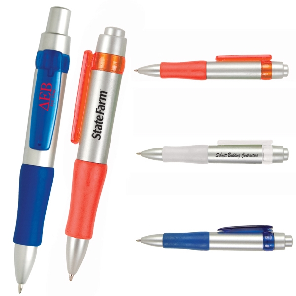 Retractable Plastic Pen With Matching Clip. Closeout Photo