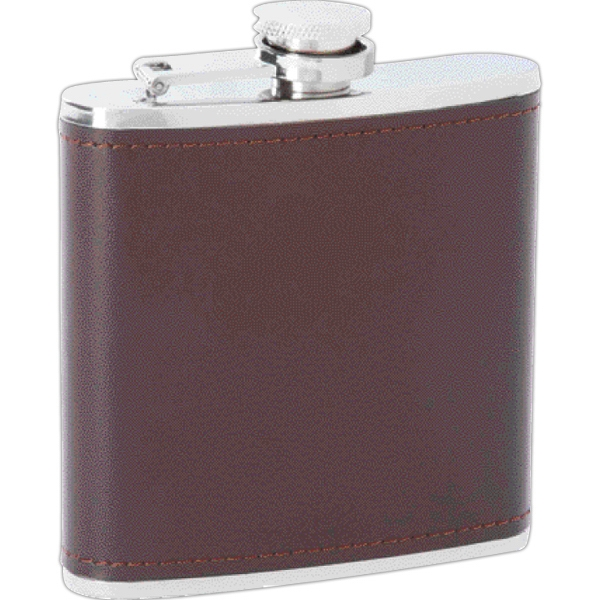 Maxam (R) 6oz Stainless Steel Flask with Leather Wrap