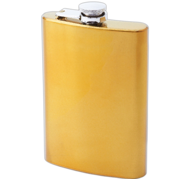 Maxam (R) 8oz Stainless Steel Flask With Gold-Tone Finish