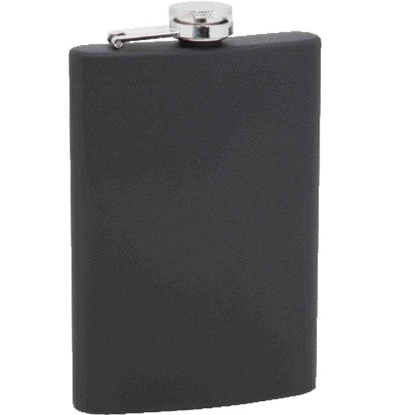 Maxam (R) 8oz Stainless Steel Black Rubber Flask