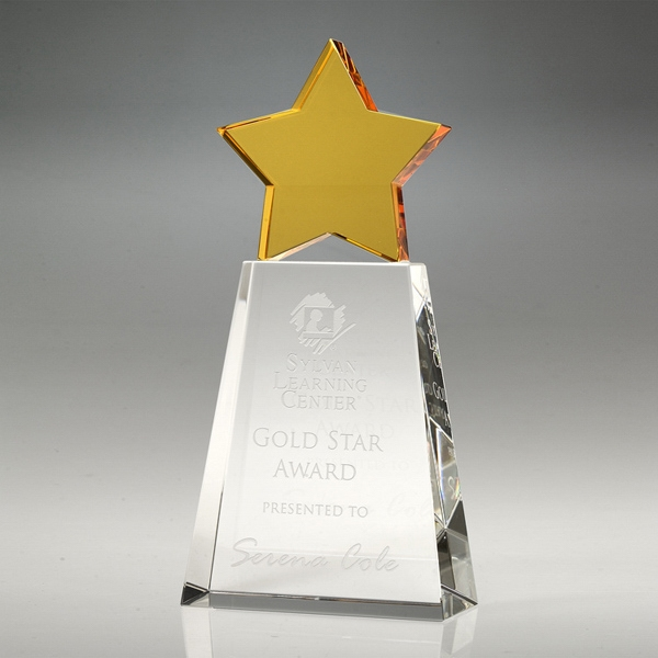 Award-Golden Star With Clear Base 7""