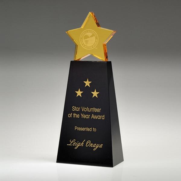 "Award-Golden Star With Black Base 8"""