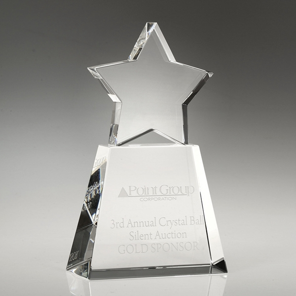 "Award-Clear Star With Clear Base 6"""