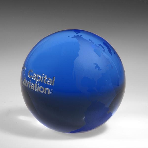 """Award-Blue Globe  (Flat Bottom) 3 1/8"""""""