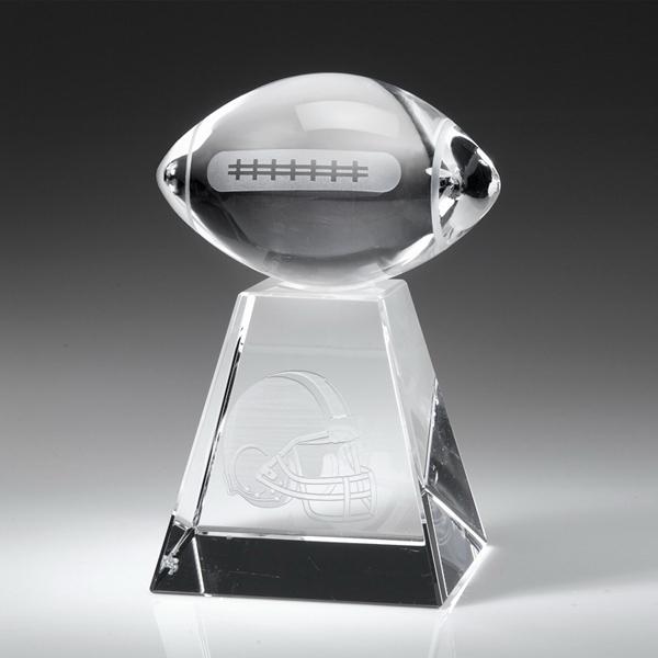 "Award-Clear Football w/ Tall Base 5 1/2"""