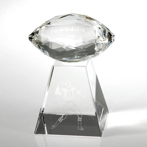 Award-Faceted Football w/ Tall Base 6 1/2""