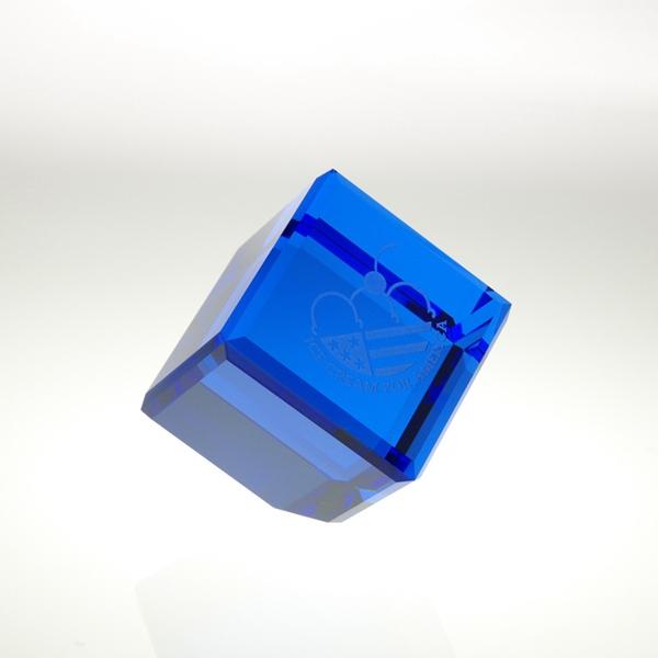 "Award-Blue Standing Cube 2"""