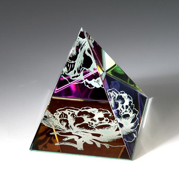 "Award-Rainbow Colored Pyramid 2-1/8""h"