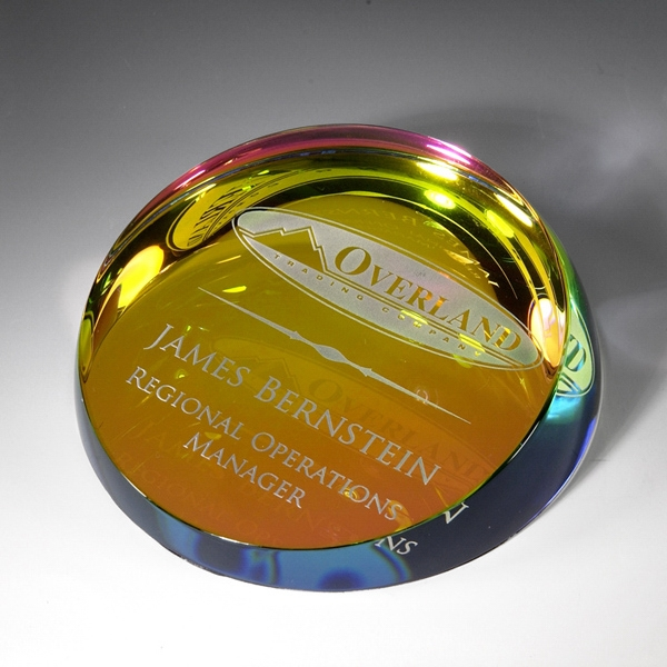 Rainbow colored corona paperweight