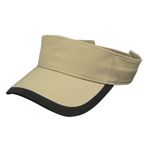 Classic Series - Chino Fabric Tennis Visor Cap. Khaki-black. Closeout Photo