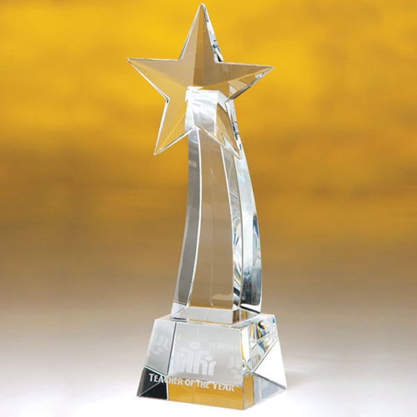 "Ohiopyle - Curved, Clear Shooting Star Trophy On A Trapezoidal Base, 10"" Photo"
