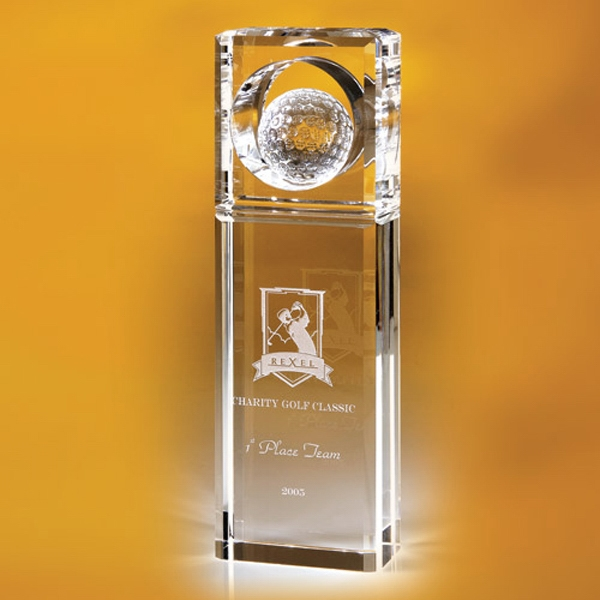 "Timblin - Clear Glass Rectangular Tower Trophy With Golf Ball Top, 8 1/2"" Photo"