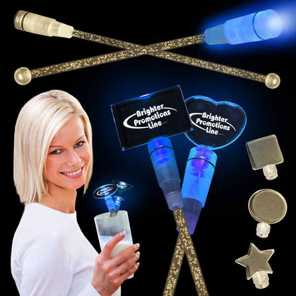 "Blue 9"" Light Up Cocktail Stirrer With Topper Photo"