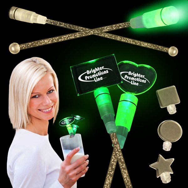 "Green 9"" Light Up Cocktail Stirrer With Topper Photo"