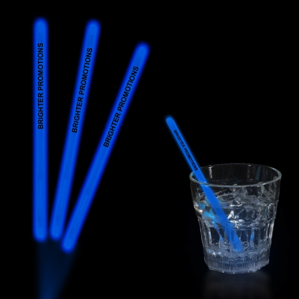 "Blue 5"" Single Color Glow Swizzle Stick Photo"