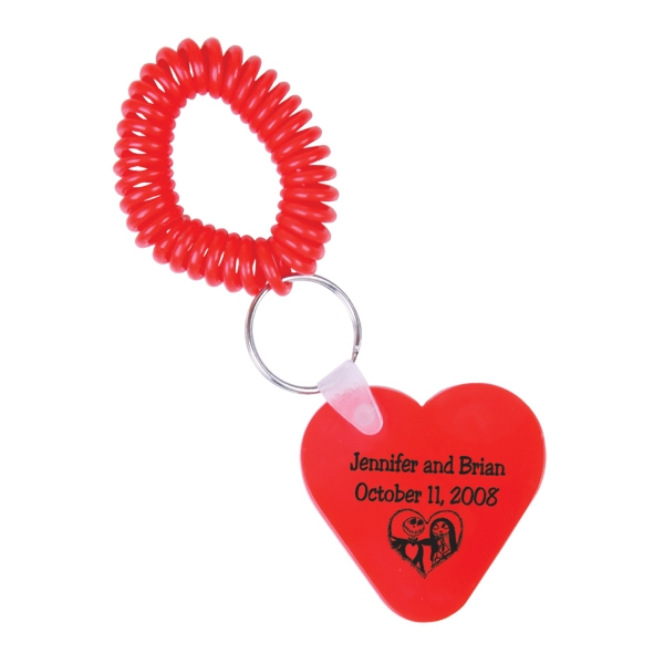 Heart Shaped Vinyl Key Fob With Metal Split Ring And Coil Photo