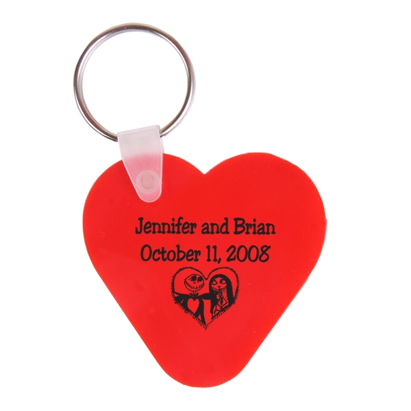 Heart Shaped Vinyl Key Fob With Metal Split Ring Photo