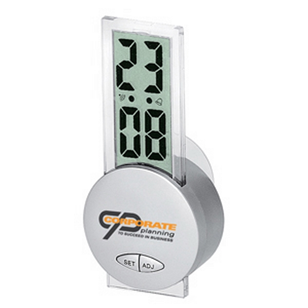 Silver LCD Suction Clock