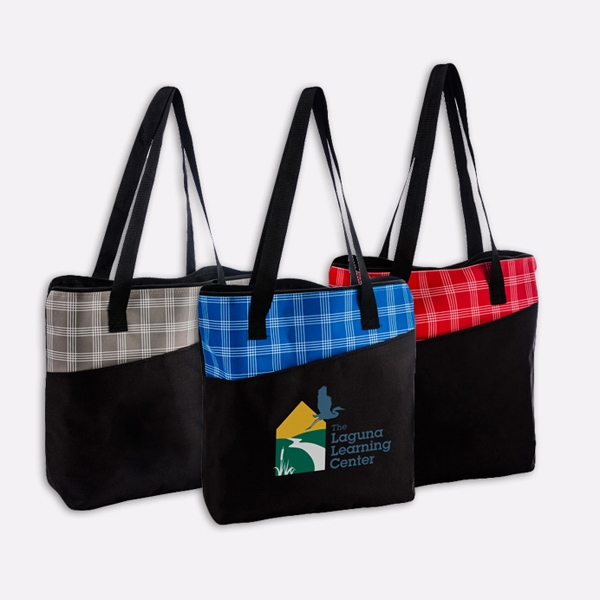 Harper Plaid Tote Bag-IMP