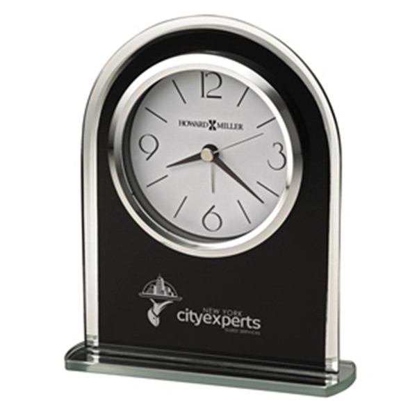 Black Glass Arched Tabletop Clock With Silver Mirrored Edge And Base Photo
