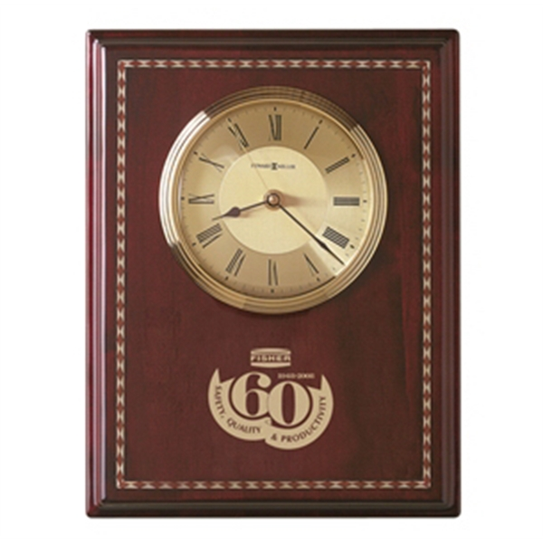 Honor Time Ii - Clock Plaque With High Gloss Rosewood Finish And Decorative Inlaid Marquetry Photo