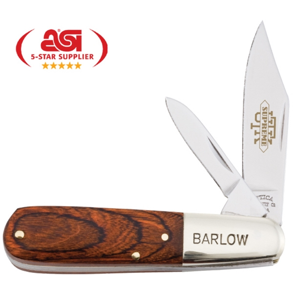"Adirondack Barlow Utk Supreme - 3 1/4"" Knife With A Hardwood Handle. Made In The Usa. Union Made Photo"