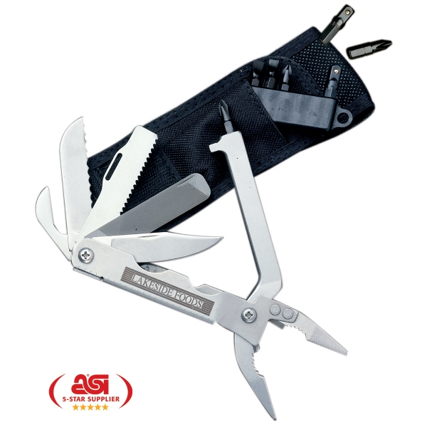 Multimaster - 17 Function Tool: Needle Nose Pliers Design - Stainless 17-function Tool With Pliers Design. Offered With Nylon Pouch, Bits, Holder Photo