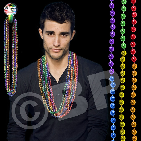 "33"" Rainbow (7mm) Segmented Mardi Gras Bead Necklace Photo"