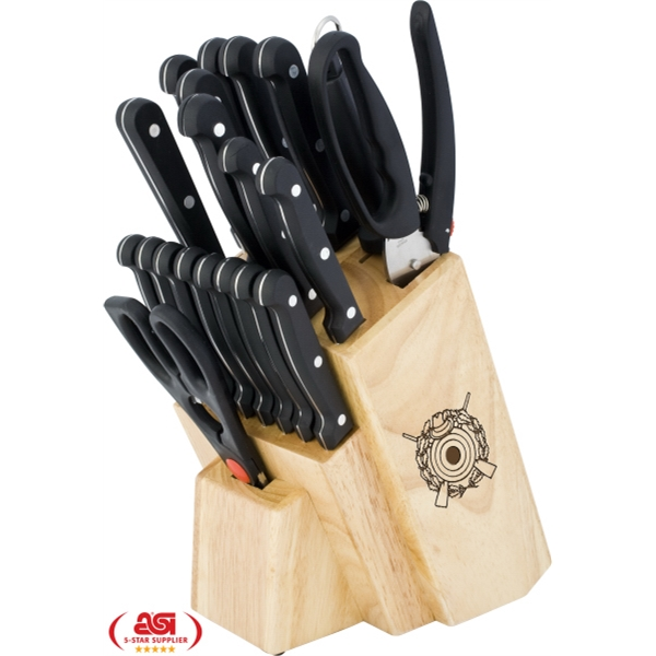 21 Piece Cutlery Set In Wooden Storage Block Photo