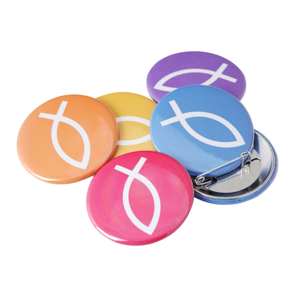 "1.75"" Round Button with Pin Backing and Mylar Coating"
