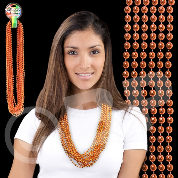 "Orange Metallic Round Beaded Mardi Gras Beads Necklace, 33"" (7mm), Blank Photo"