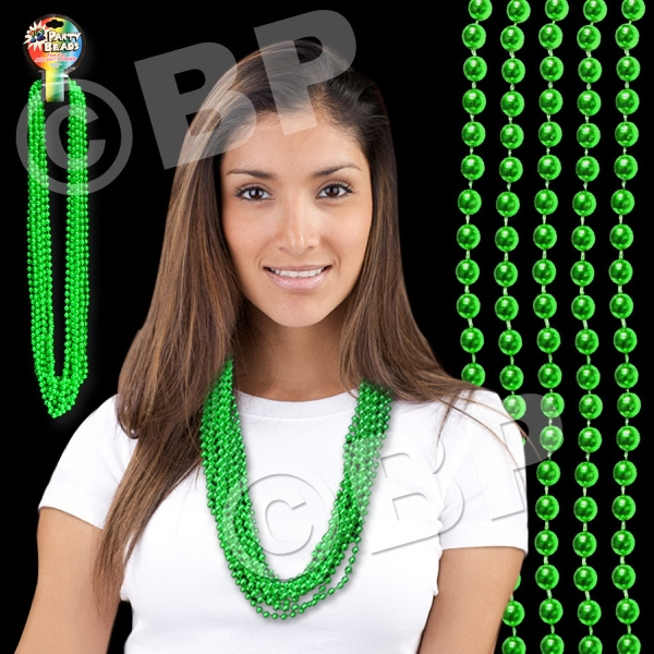 "Green Metallic Round Beaded Mardi Gras Beads Necklace, 33"" (7mm), Blank Photo"