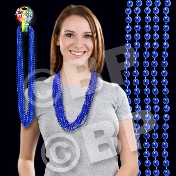 "Blue Metallic Round Beaded Mardi Gras Beads Necklace, 33"" (7mm), Blank Photo"