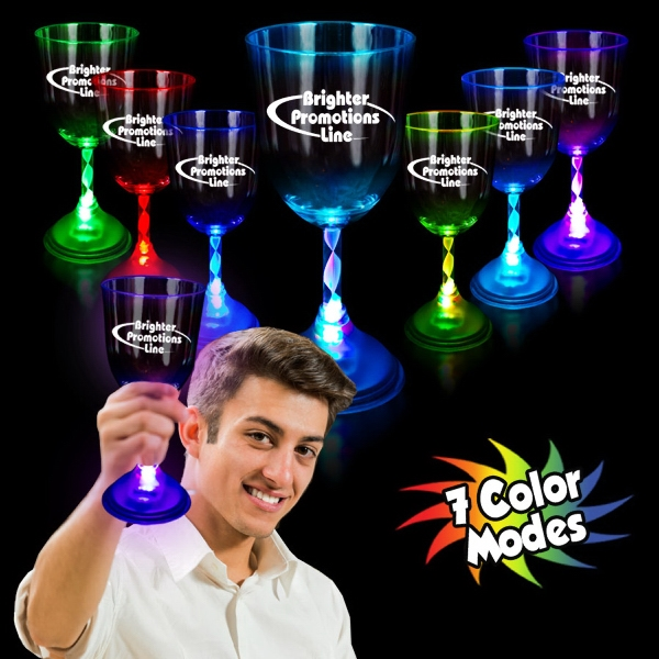 10 Oz Light-up Multicolor Wine Glass With Frosted Base Photo