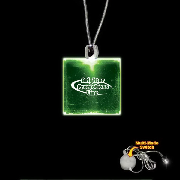 "High Quality, Square Green Light-up Acrylic Pendant On A 24"" Necklace Photo"