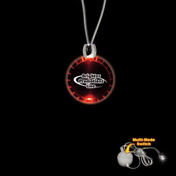 "High Quality, Bottle Cap Shape Red Light-up Acrylic Pendant On A 24"" Necklace Photo"
