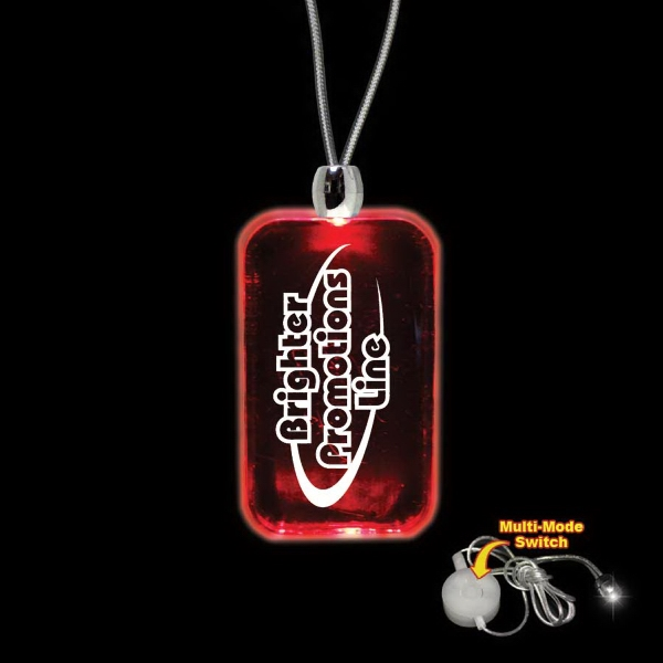 "High Quality, Dog Tag Shape Red Light-up Acrylic Pendant On A 24"" Necklace Photo"