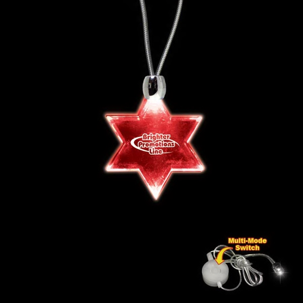 "High Quality, Star Of David Red Light-up Acrylic Pendant On A 24"" Necklace Photo"