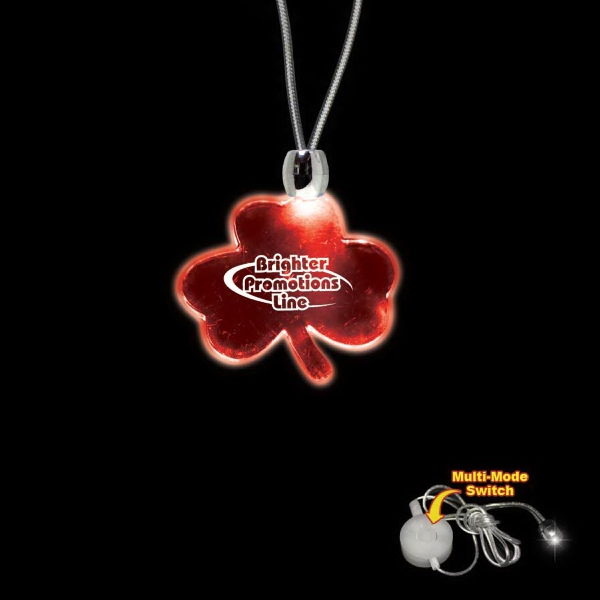 "High Quality, Shamrock Shape Red Light-up Acrylic Pendant On A 24"" Necklace Photo"