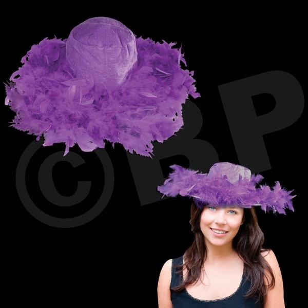Big Brim Purple Feather Novelty Hat