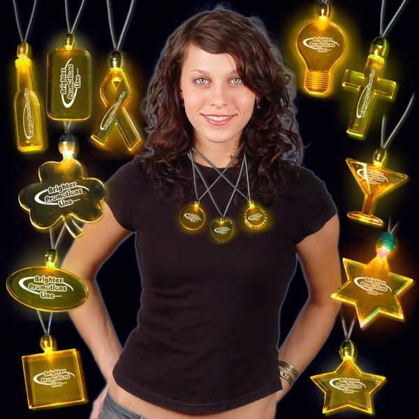 Amber Light-Up Acrylic LED Pendant Necklace