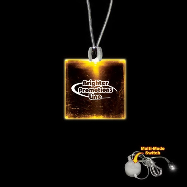 "High Quality, Square Amber Light-up Acrylic Pendant On A 24"" Necklace Photo"