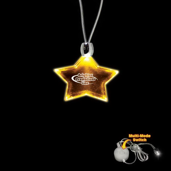 "High Quality, Star Shape Amber Light-up Acrylic Pendant On A 24"" Necklace Photo"