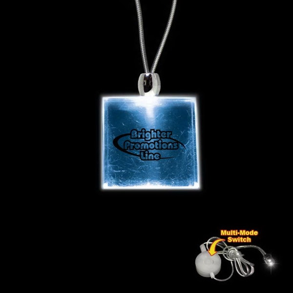 "High Quality, Square Blue Light-up Acrylic Pendant On A 24"" Necklace Photo"