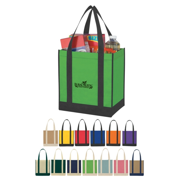 Custom Non-woven Two-tone Shopper Tote Bag Photo