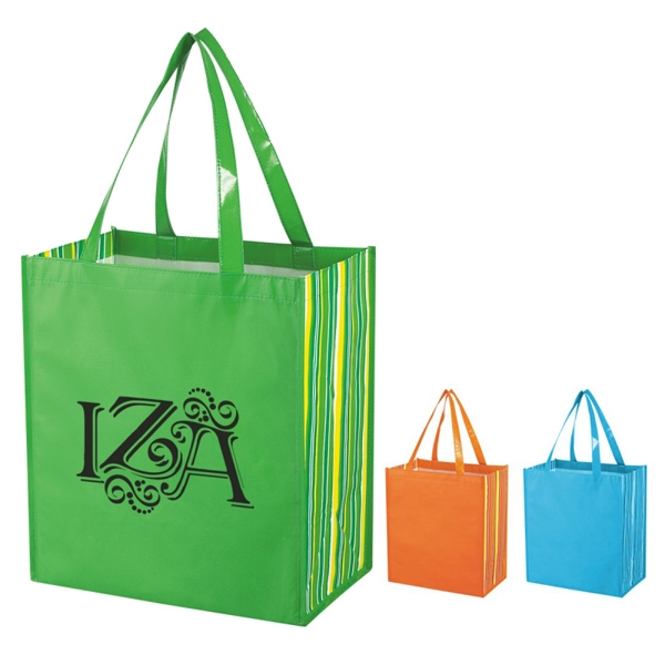 Shiny Laminated Non-woven Tropic Shopper Tote Bag Photo