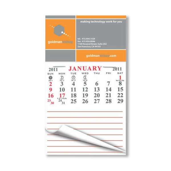 "Calendar Pad Magnet With Notepad, 4"" X 3 1/2"" Photo"
