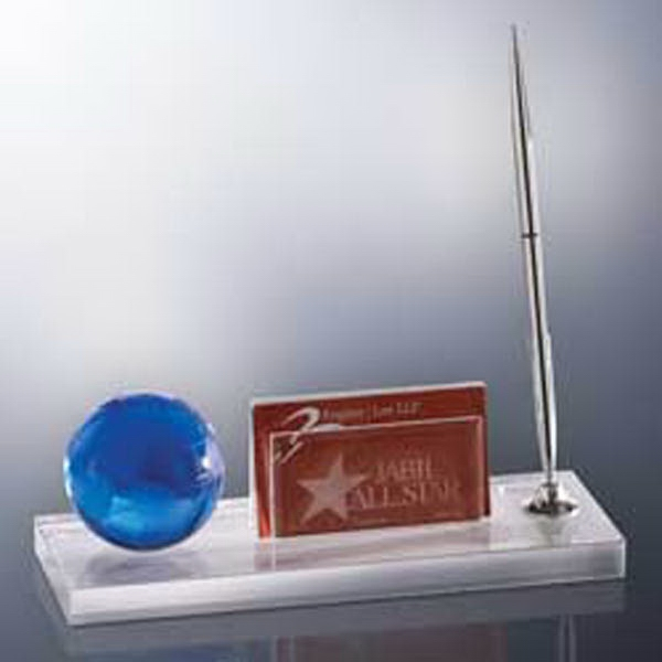 Sand Etched - Blue Globe Desk Set. Closeout Photo