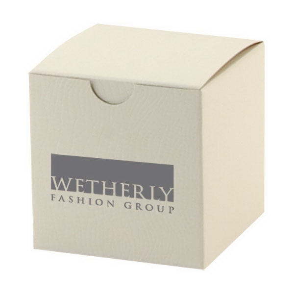 White Alligator Embossed Gift Box With Gray Interior Photo